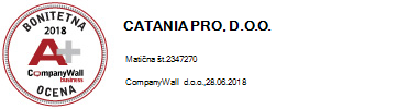 Bonitetna ocena CATANIA PRO. d.o.o. - 2018
